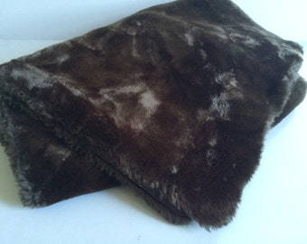 Vintage Faux Fur STOLE   Chocolate BROWN with Satin