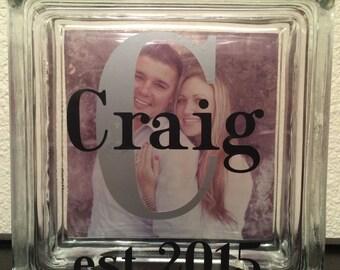 Glass Block - Photo Glass Block - Personalized Glass Block with Photo - Wedding Gift - Family Photo Glass Block - Christmas Gift