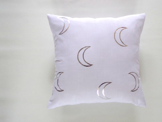White Linen Silver Moon Pillow Cover Bedding Accent Shiny