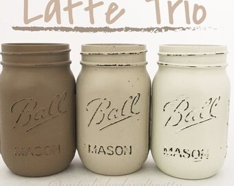 Latte jar trio, Set of 3 distressed mason jars, mason jars, distressed mason jars, neutral colors, wedding decor, home decor