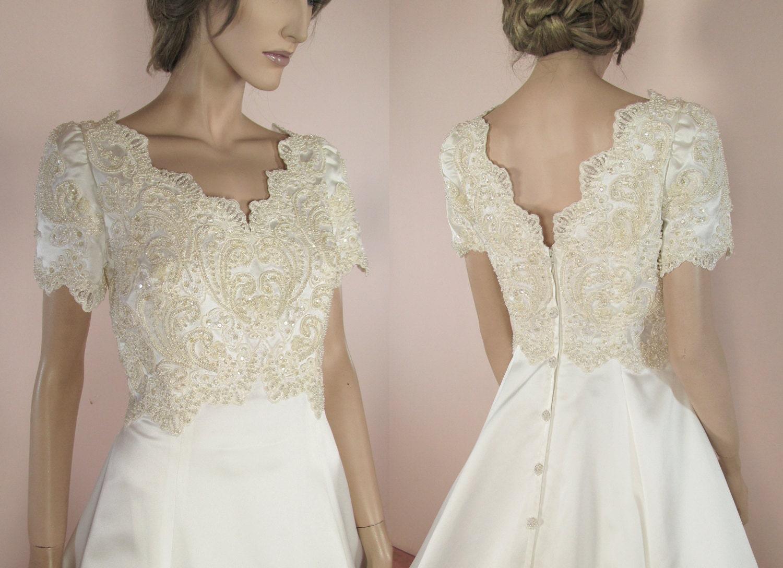 80's Vintage Wedding Dress Elegant White Bridal Gown From