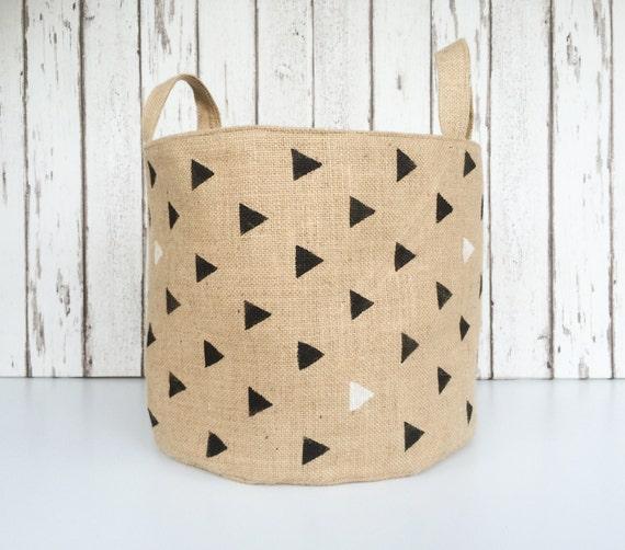 extra large toy storage bin burlap basket with black. Black Bedroom Furniture Sets. Home Design Ideas