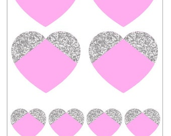 G004- Pink & Silver Hearts