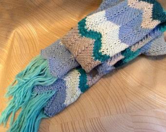 Scarf, hand knit scarf, narrow scarf, narrow knit scarf, acrylic yarn, scarf with fringe, knit scarf with fringe, chevron knit scarf, scarf