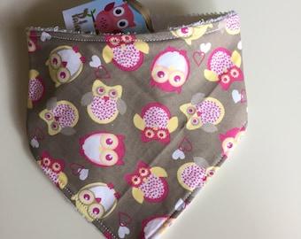 Brown OWL bandana bib