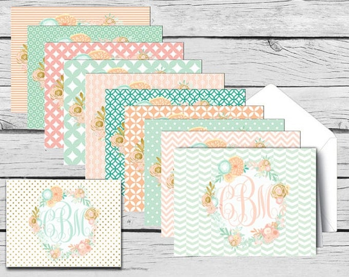 Script MONOGRAM Mint & Peach Floral NOTE CARD Assorted Set, Made-to-Match Cards, Birthday, Printed Thank You Cards