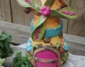 Windmill Fairy Cottage -   Enchanted Forest Fairy Home - Miniature Garden House Terrarium Mini World Dish garden supplies accessories kit