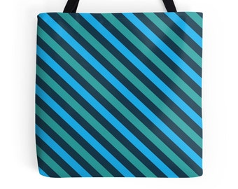 Teal Tote Bag, Blue Tote Bag, Turquoise Purse, Teal Stripes, Blue Green Accessories, Teal Bag