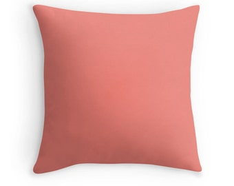 Solid Coral Pillow, Coral Throw Pillow, Basic Coral Pillow, Coral Toss Pillow, Coral Cushion, Coral Pillow Case, Coral Pillow Cover, Coral