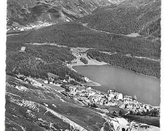 St Moritz, Corviglia, Bahn, Vintage circa 1940s Unused Real Photo Postcard, Switzerland