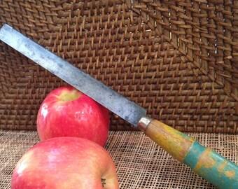 Vintage bread knife -oak handle bit o paint