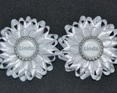 """Pair of Handmade Girl's Personalised """"NAME"""" Hairbands/Bobbles, Kanzashi Style, For School or Nursery"""