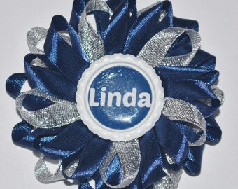 """Handmade Girl's School Personalised """"NAME"""" Hair Clip/Bow, Kanzashi Style"""
