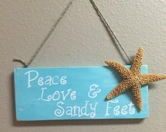 Wood Beach sign Light blue nautical decor Coastal beach wall decor Peace Love Sandy feet