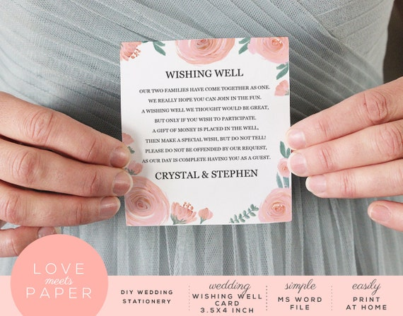Money Instead Of Gifts Wording: Items Similar To Wishing Well Wedding Card Template 3.5x4