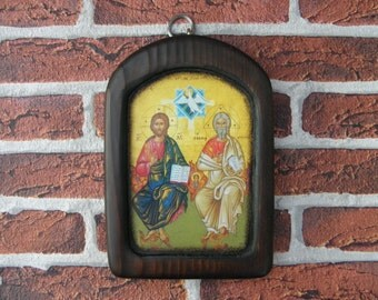Orthodox Byzantine  Icon on Wood Handmade- Holy Trinity,  Wooden Icon Print, Orthodox Religious Icon, (19 cm x 13 cm), Home gift, zografa