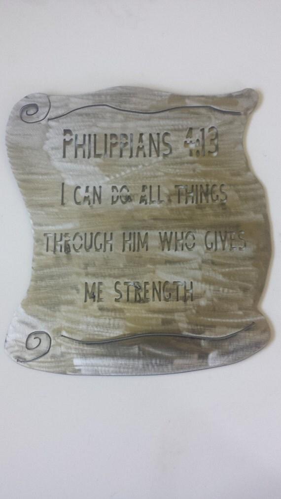 CNC Plasma Philippians 4:13 Metal Sign Powder Coated or Raw Steel