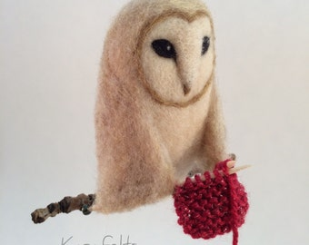 Needle Felted Knitting Owl Ornament