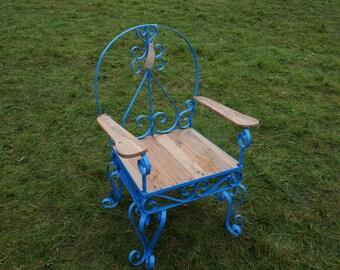 Vintage metal and reclaimed wood chair