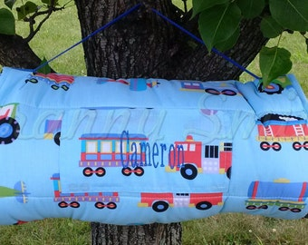 Trains Planes Trucks Rest Nap Mat Roll With Pillow Blanket Attached Monogram