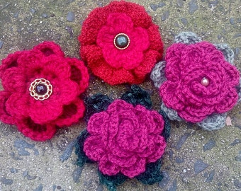 Red Crochet Flower Brooches