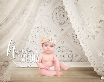 Baby Toddler Child White Lace Canopy with Vintage Wall Studio Digital Backdrop - Photography Background for Photographers