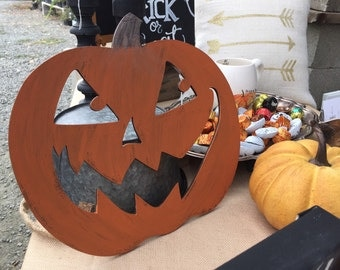 Wooden Jack O'Lantern Halloween Sign
