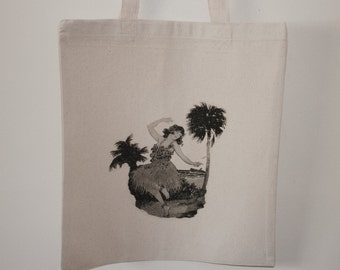 Hula girl vintage feel tote bag