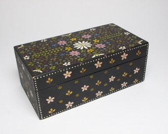 Vintage 1930s Arts and Crafts hand painted wooden box.