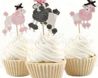 12 French Poodle Cupcake Picks,Cake, Toppers, Picks, Party Picks
