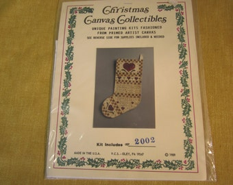 Christmas Canvas Collectibles stocking painting kit #2002, includes primed canvas and instructions, c. 1989
