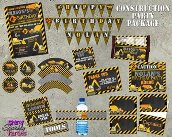 CONSTRUCTION PARTY PACKAGE  Construction birthday party  Construction party printables  Construction party  Construction birthday printables