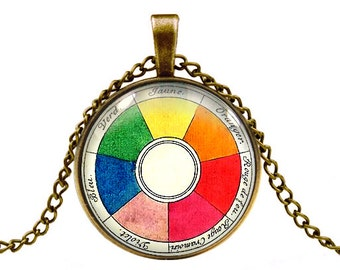 vintage color wheel pendant necklace jewelry -with gift box