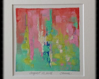 Abstract Canvas Art,Small Abstract Painting,5x5 oil painting,Abstract Oil Painting, SuzzannaFrank, August 10, 2015