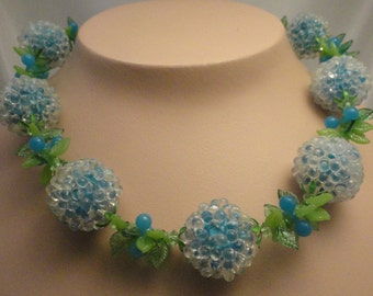 Vintage Vendome Necklace, Bubble Beads, Blue Berries and leaves, Lucite