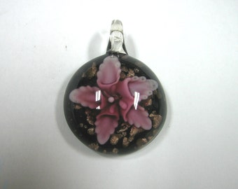 Round Floral Blown Glass Pendant (1pc)