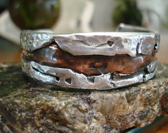 Rustic Copper Aluminum Cuff. 3.5mm x 19.5mm thick and wide. Rustic Copper Inlay.