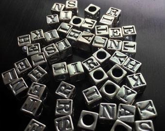 Sterling Silver Alphabet Block Beads