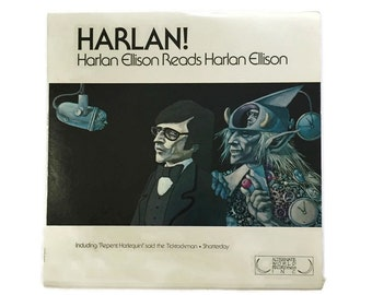"Harlan Ellison, ""Harlan! - Harlan Ellison Reads Harlan Ellison"", vinyl record album, spoken word LP, sci fi, science fiction, literature"