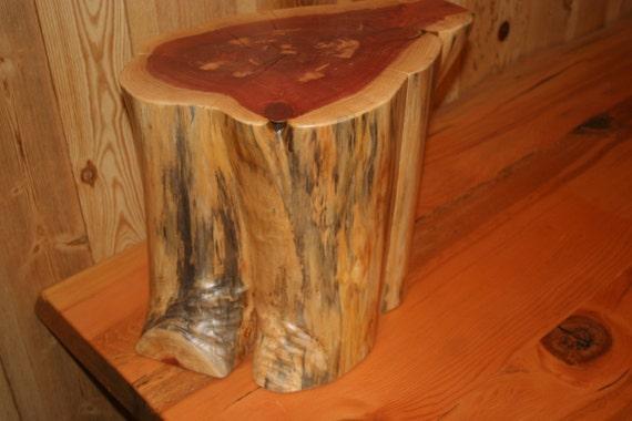 Cedar Log Stump Table Live Edge Wood Slab By Everhartlumber