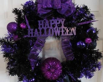 Halloween Wreath, Black Wreath, Tinsel Wreath, Pumpkin Wreath, Black and Purple Wreath, Black Tinsel Wreath, Halloween Pumpkin Wreath
