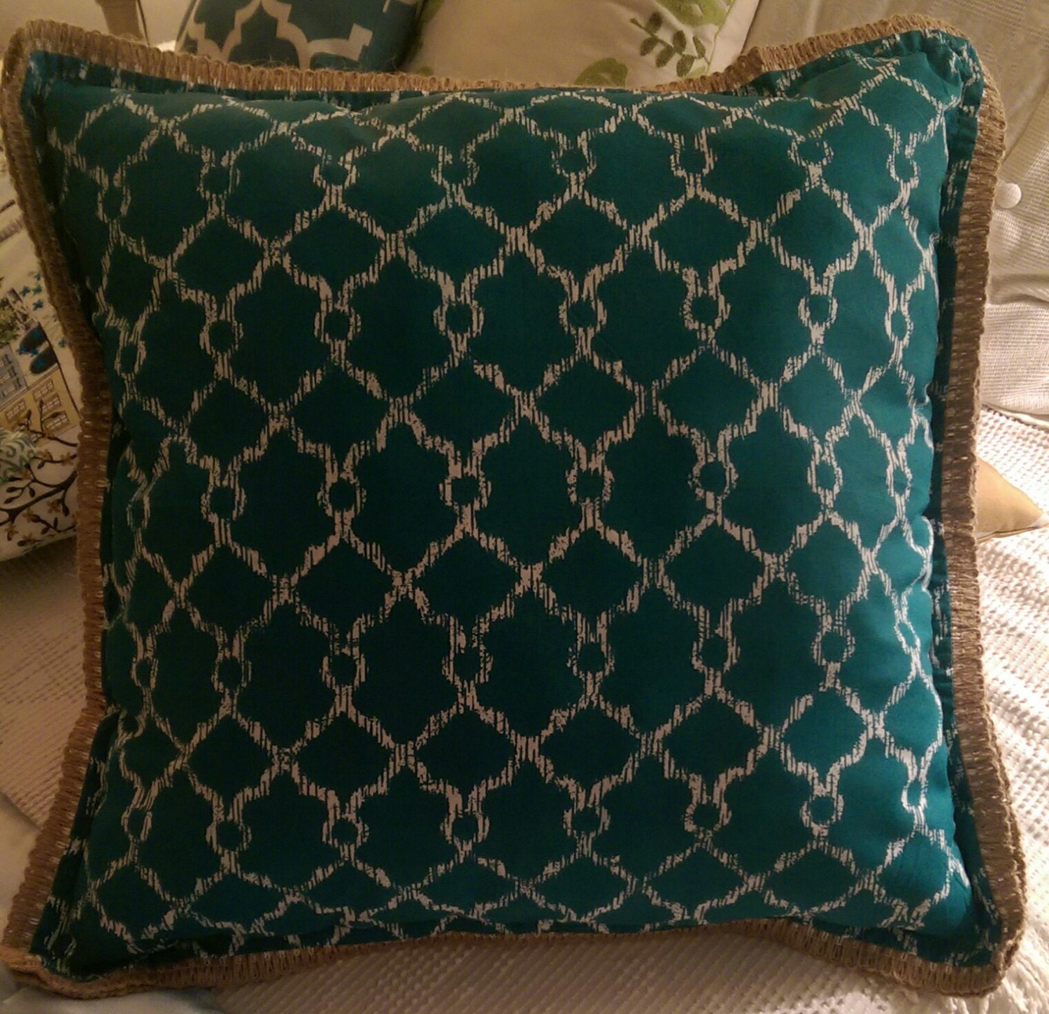 Throw Pillow Trim : Teal Throw Pillow with Burlap Trim by EschryRychCreations on Etsy