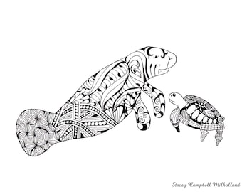 Manatee & Sea Turtle drawing   Manatee Coloring page   Turtle Coloring page   Digital Download