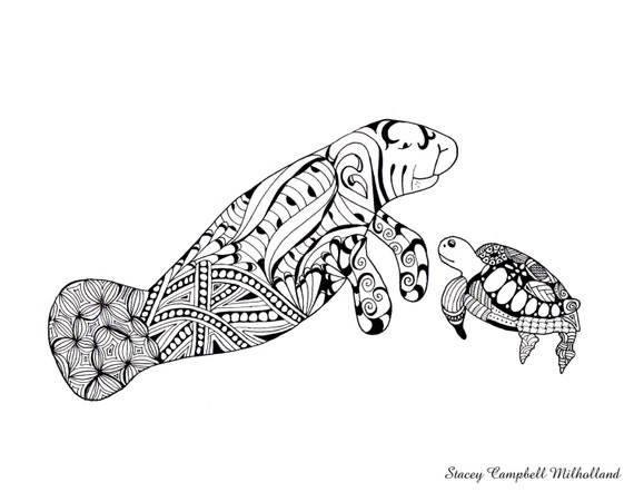 Manatee sea turtle drawing digital download for Manatee coloring pages