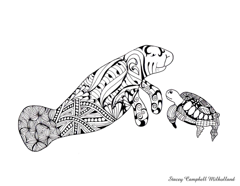 Manatee Sea Turtle drawing Manatee Coloring page Turtle