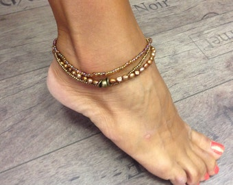 Ankle bracelet boho with freshwater pearls vintige gold color, chic summer jewelry