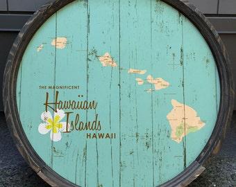 Hawaiian Islands, HI Map Barrel End (Turquoise)