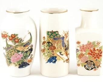 VASES. CERAMIC VASES. Miniature Japanese Vases. Japanese Ceramic. Miyako Vases. White w Flower & Bird Design. Unique Vases. Pottery Vases.