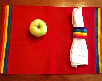 Red Rainbow 80s Placemats and Napkin Rings vintage set of 3 retro cotton