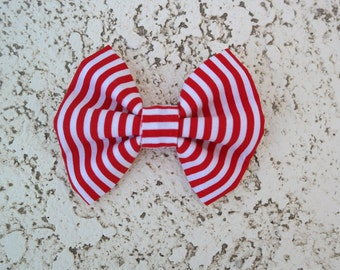 Red and white striped hair bow